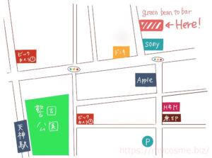 green bean to bar 福岡店の地図